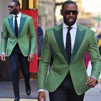 traje para novio al por mayor-Mint Green Solid Men Trajes de Boda Formal Novio Tuxedo Fit Mens Party Slim Fit Boys Suit One Piece