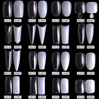 Wholesale false nails french packs for sale - Group buy 500pcs pack Natural Clear False Acrylic Nail Tips Full Half Cover Tips French Sharp Coffin Ballerina Fake Nails UV Gel Manicure Tools