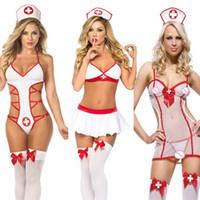 krankenschwester uniform kostüme cosplay großhandel-BNC Sexy Dessous Heiße Frauen Baby Doll Lenceria Sexi Erotische Dessous Kleid Cosplay Krankenschwester Uniform Kostüme Unterwäsche Sex Kleidung Rolle