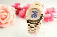 relojes ultra delgados de las mujeres al por mayor-2017 Ultra Thin Rose Gold Mujer Relojes de flores de diamantes Marca A Enfermera Vestidos de mujer Hebilla plegable Reloj de pulsera Regalos para niñas