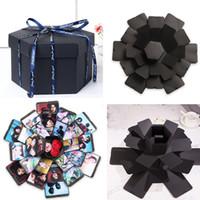 Wholesale explosion box resale online - Surprise Explosion Box Anniversary Scrapbook Creative DIY Photo Album Wedding Gift
