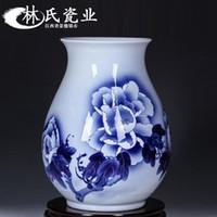 jingdezhen süsleri toptan satış-Jingdezhen Seramik El-boyalı Mavi Lotus Vazo Düzenlemesi Porselen Vazo ve Çiçek Süsler