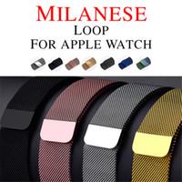 apfel uhrenarmband milanese großhandel-Milanese Loop Band für Apple Watch 42mm / 38mm Edelstahl Gürtel Magnetisch verstellbares Armband Ersatzband für iwatch Serie 3/2/1