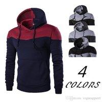 ingrosso abiti da palestra invernali-Abbigliamento da uomo Felpe invernali Patch colori Pullover con cappuccio Rosso Grigio Gym Outfit Track Suit Fashion