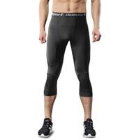 calças joelhinhas venda por atacado-Mens Correndo Calças Leggings de Futebol de Basquete Aptidão Ginásio Masculino Alta Elastic Ginásio Sportswear Com Anti-Colisão Joelheiras