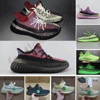 zapatillas nuevas al por mayor-YECHEIL Yeehu Nueva Kanye West zapatos corrientes de Glow Negro verde reflectante Antlia Citrin nube blanca Entrenadores zapatillas de deporte con la caja de la X Tag