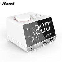 falantes de porta venda por atacado-Display LED Dual Alarm Clock Dual Unidades Sem Fio Bluetooth Speaker FM Rádio Porta USB Bass Speaker