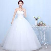 vestidos de novia de alta costura rosa al por mayor-Vestido nupcial barato de la alta calidad en el vestido de boda del vestido de boda de la novia de la nueva manera del blanco más vestidos delgados largos vestido de boda largo