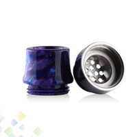 Wholesale flow electronics online - Air Flow Drip Tip Thread Epoxy Resin SS Wide Bore hole Airflow Mouthpiece Fit Electronic Cigarette DHL Free