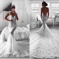 vestidos de casamento sexy venda por atacado-2019 Vintage Lace Full Mermaid Vestidos De Casamento Sexy Sheer V Neck Ilusão Botão Voltar Tribunal Trem De Tule Vestido de Noiva Vestidos De Noiva Personalizado
