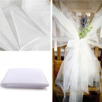 decoración de boda pura al por mayor-48 cm * 5 metros Sheer Crystal Organza rollo de tul tela para drapear la ceremonia de boda partido decoración del hogar año nuevo decoración