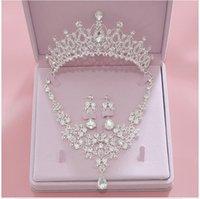 coroas de jóias de noiva venda por atacado-Bling Bling Set Crowns Colar Brincos Liga Cristal lantejoulas jóias acessórios de casamento Tiaras Cabelo Headpieces