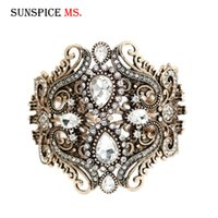 Wholesale old fashioned jewelry for sale - Group buy SUNSPICE MS Fashion Old Gold Color Women Bangle White Crystal Charm Bracelet Jewelry Turkish Women Wedding Bridal Gifts