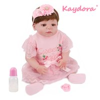 hermosas muñecas rosas al por mayor-Venta al por mayor 22 pulgadas 55 cm Reborn Baby Doll Vinyl lol Toy Lovely pink Princess Girls Beautiful Bebe vestido bonito venta caliente Moda