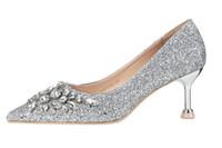 ouro vermelho talões de cristal de prata venda por atacado-Sapatos de cristal de lantejoulas de luxo de ouro vermelho sapatos de casamento de prata nupcial dedo apontado bombas de salto alto tamanho 34 a 39