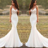 Wholesale beach wedding dresses mermaid tulle for sale - Group buy 2020 Country Mermaid Wedding Dresses Spaghetti Backless Sweep Train Appliques Illusion Bodice Long Beach Garden Country Bridal Gowns