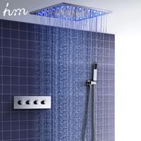 sistemas de lluvia al por mayor-Lujo 20 pulgadas LED Rain Mist Sistema de ducha termostático 3 formas de válvula de ducha Juego de mezclador de baño Kit de ducha
