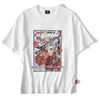 camiseta del héroe al por mayor-Camiseta de hip hop para hombre Camiseta japonesa de dibujos animados de Tiger Hero Streetwear 2019 Summer Anime T-Shirt de manga corta de algodón Tops blancos Camisetas