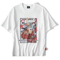 camisa branca japonesa venda por atacado-Mens Hip Hop T Camisa Japonesa Dos Desenhos Animados do Tigre Herói Tshirt Streetwear 2019 Verão Anime T-Shirt de Manga Curta de Algodão Branco Tops Tees