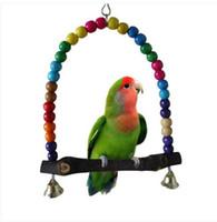 juguetes de aves envío gratis al por mayor-Envío gratis ventas al por mayor 2019 Parrot Swing Pet Toy Colorful Bird perico Budgie Lovebird madera