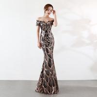 kısa mini tül turuncu balo elbisesi toptan satış-Sıcak satmak Lüks Abiye Dantel Pullu Bayan Artı Boyutu Resmi Elbise Uzun Müslüman Abiye 2019 Parti Uzun Nişan Elbiseler
