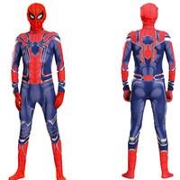 cosplay gladiador venda por atacado-2019 Costumes Halloween New Kids Mascot Spiderman Halloween Cosplay Kids Clothing Crianças Spider-Man Costume 110-180 cm