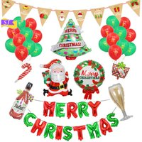 Wholesale pink brown balloons for sale - Group buy Christmas decoration combination cartoon double sided paper pull flag scene layout Santa snowman aluminum balloon party suppli