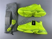 Wholesale fluorescent green fabric resale online - 2020 Paris Triple S Running Shoes Fluorescent green Cushion Transparency Luxury Casual Shoes Fashion Designer Men Women Sneakers With Box