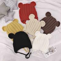 Wholesale kids ear muffs winter boy resale online - Candy Colors Kids Winter Warm Hat Ball Beanie Knit Crochet boys girls Knitted Cat Ear Warm Hat