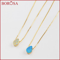 cuentas de ópalo blanco al por mayor-Venta al por mayor 5/10 UNIDS 7x10mm Color Oro Lágrima Blanco / Azul Japonés Opal Beads 17 pulgadas Collar hecho por el hombre Opal Druzy Collares G1570