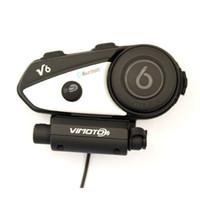 interkom bluetooth bt rider toptan satış-Yeni Vimoto İngilizce Sürüm Kolay Rider V6 multi-fonksiyonel 2Way Radyo BT Interkom Motosiklet Kask Bluetooth Interkom Kulaklık
