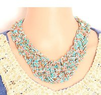 ethnische kostüm frauen großhandel-Mode böhmischen Stil Perlen geflochtene kurze Frau Kostüm ethnischen Perlen Choker Party Bankett Halskette