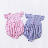 Wholesale cherry baby clothing for sale - Group buy Cute Ins Baby girls clothing Striped Rompers Jumpsuit Flutter sleeve Cherry Print cotton Summer Blue PINK