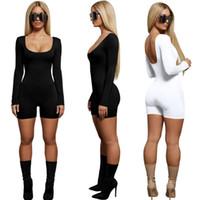 patchwork bandage club trägt großhandel-Einfarbig Spielanzüge Frauen Kleidung Sommer Slim Fit Sexy Schwarz Weiß Mode Lässig Overalls Einteilige Anzüge