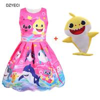 niñas niños algodón vestido al por mayor-Baby Shark Beach Dress For Girl Costume Summer Kid Cartoon Toy Party Princesa Frock Niños Animales Túnica de Algodón Regreso a la Escuela de Tela