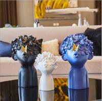 moderne schlafzimmerzubehör großhandel-Harz Figuren Miniaturen Wohnzimmer Moderne Skulptur Einrichtung Handwerk Heimtextilien Zubehör Kaffee Ornament J190713