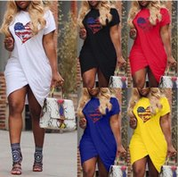 Wholesale dresss plus size for sale - Group buy 2020 Plus Size XL Dresss Women Summer LOVE Casual Dress Cross Designer Short Sleeved Candy Color Dresses