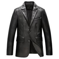 neue herren echtes lederjacke großhandel-2018 neue designer luxury mens echtes leder blazer jacke plus größe business man suit schaffell mantel jacken schlank oberbekleidung