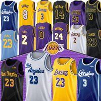 gelbe blaue basketball uniformen großhandel-LeBron James 23 NCAA Anthony 3 Davis Jerseys Kobe 8 24 Bryant Kyle 0 Kuzma Lonzo 2 Ball Brandon 14 Ingram Männer Kind