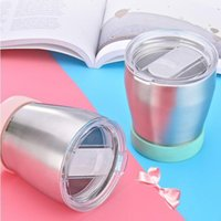 Wholesale 3 Colors ml Stainless Steel Coffee Mug Silicone Bottom Beer Cup Outdoor Drinking Cups Double Wall Vacuum Hydration Gear CCA11105