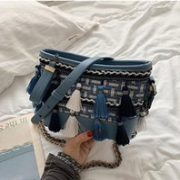 bolso de hombro de tweed coreano al por mayor-Nueva versión coreana de bolso sesgado, cadena de tweed, bolso de hombro con flecos