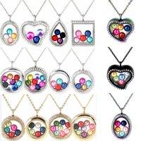 pingentes de contas coloridas venda por atacado-20 Styles 8-10 mm Pérola Beads gaiola Colorido Geometria magnéticos de vidro flutuante Medalhão Pingentes Mulheres Charms 20