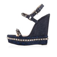 Wholesale wooden heeled shoes for sale - Group buy 2019 new blue Hemp bottom Ladies Wedge Sandals Riveted high heeled shoes with wooden slope EU35 With Box