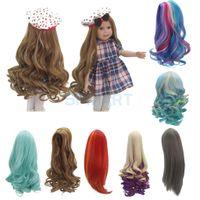 """ingrosso luce bjd-7 opzioni moda parrucca di capelli lunghi ricci / dritti per 18 """"bambole americane fai da te che fanno accessori di riparazione"""