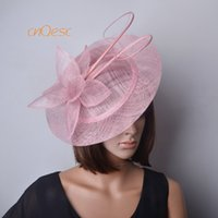 8918f8718b8c7 fascinator hat races Canada - NEW Blush pink BIG Sinamay Fascinator Hat  with long ostrich spine
