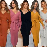 Wholesale blue knee length fitted dresses for sale - Group buy Women Sheath Dresses Solid V Neck Sash Lacing Backless Long Sleeve Dress Lady Designer Dress Slim Fit Dresses