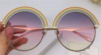 lunettes de soleil à monture arc-en-ciel achat en gros de-Lunettes de soleil populaires à la mode cadre rond arc-en-ciel qualité supérieure style simple et généreux lunettes de protection danb avec boîte