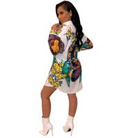 línea de estilo de moda al por mayor-Diseñador de verano para mujer Camisa Vestidos de solapa Cuello una línea Folra Imprimir Ropa femenina Moda Club de noche Estilo Ropa informal