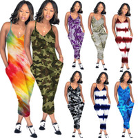 Wholesale cotton packet resale online - Women s V Neck Overall Spaghetti Strap Romper Pants Front Packet Wide Legs One Piece Jumpsuit Loose Pants Clubwear Sleeveless Playsuit C5903