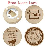 şişe açacağı iyilikleri toptan satış-Kişiselleştirilmiş Düğün Iyilik ve Hediyeler Için Konuk Ahşap Yuvarlak Şişe açacağı Dolabı Magnet Düğün Dekorasyon Ücretsiz lazer logo LX1173